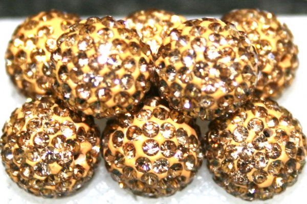 10mm Gold 115 Stone  Pave Crystal Beads- 2 Hole PCB10-115-012